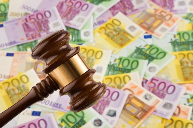European money and gavel